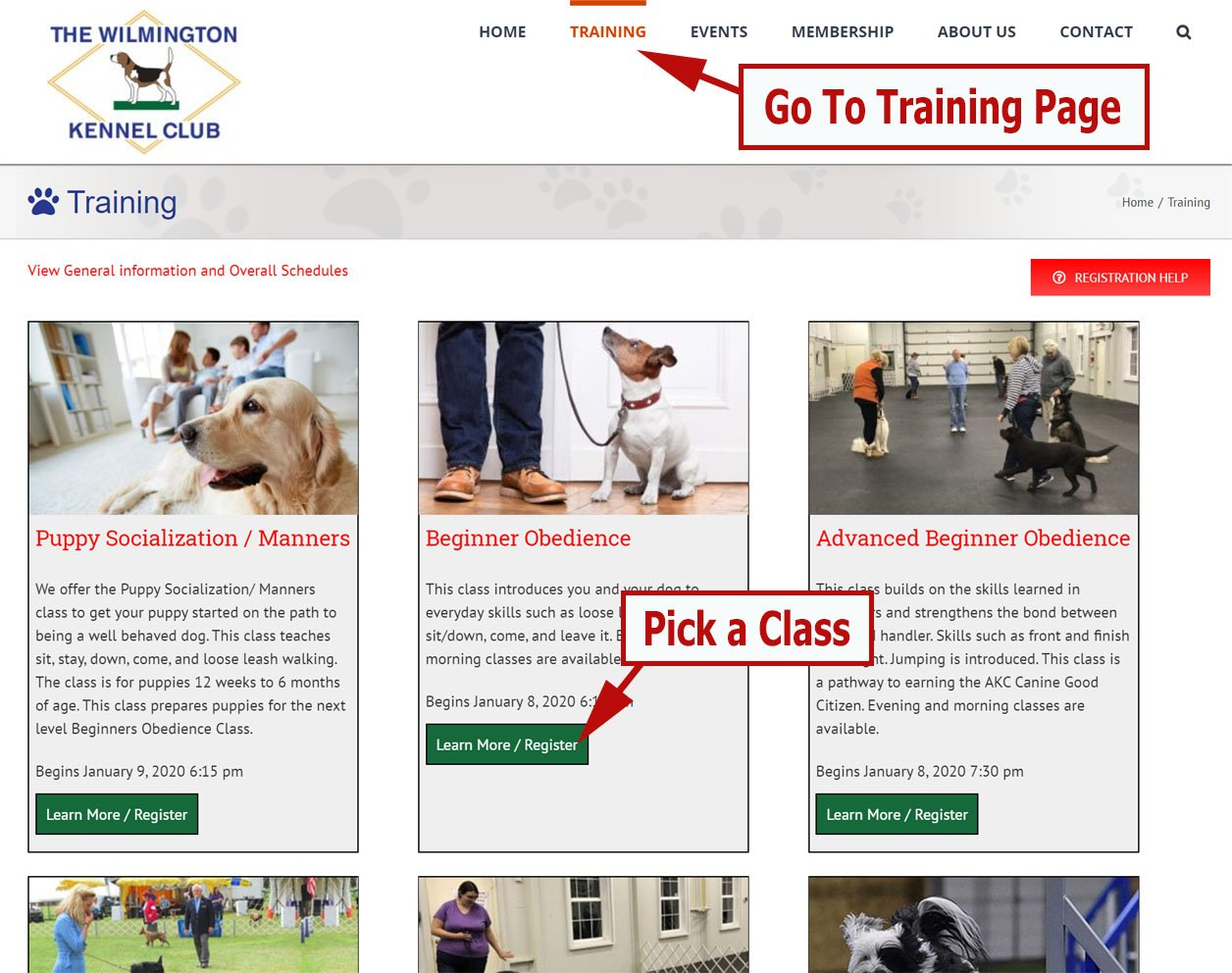 Screenshot with arrows pointing to the Training menu item and the Learn More button for a class