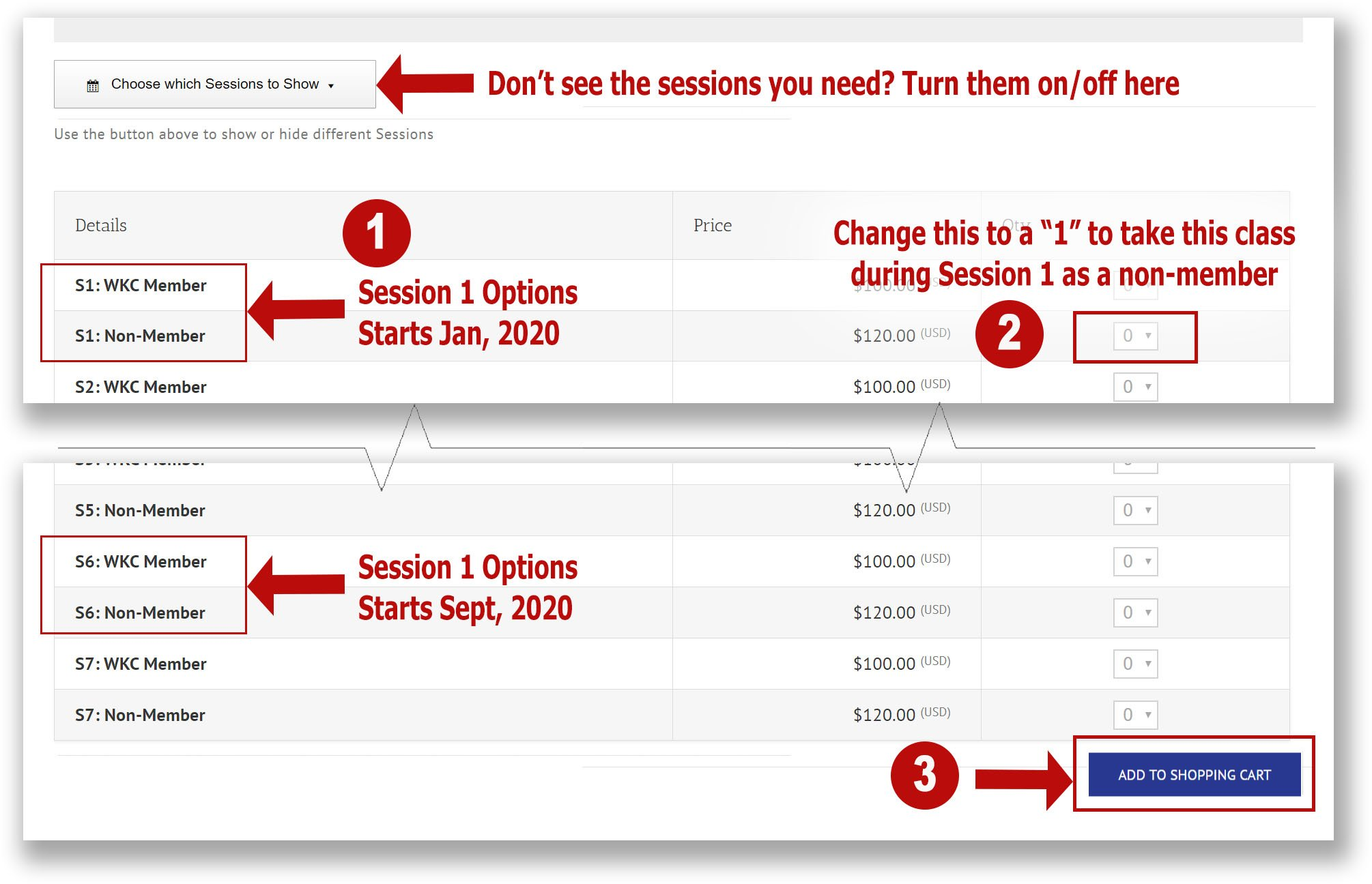 Screenshot showing three steps 1-pick a session, 2-pick a quantity, 3-add to cart